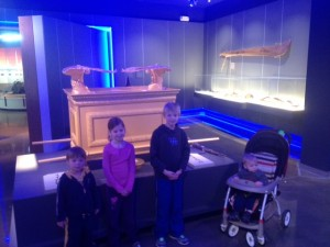 The kids in front of the Ark of the Covenant