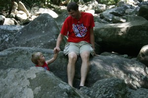 """This is Landon telling me, """"I can do it, Dad!"""" while pulling his hand away."""