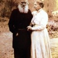 Leo Tolstoy and wife Sofia at their 48th Anniversary
