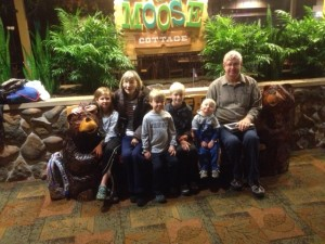 The kids with Dad and Mom at the Great Wolf Lodge