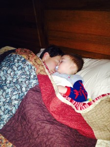 Caleb came to our bed the other morning and slept in with daddy!  I loved this rare moment.