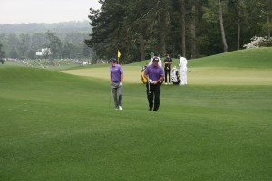 We followed the practice round of Phil Mickelson, Rickie Fowler, Dustin Johnson, and Brandt Snedecker.